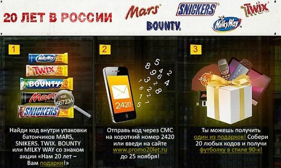 "Пример промо акции ""Нам 20 лет - Вам подарки"" от Mars"